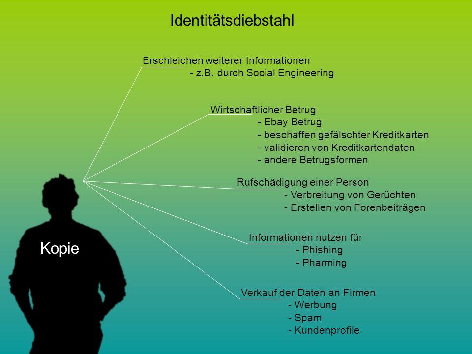 Kopie Identitätsdiebstahl Erschleichen weiterer Informationen - z.B.