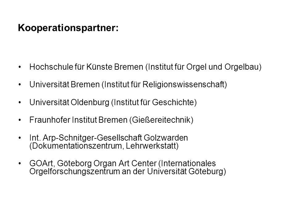 Kooperationspartner: Hochschule für Künste Bremen (Institut für Orgel und Orgelbau) Universität Bremen (Institut für Religionswissenschaft) Universitä