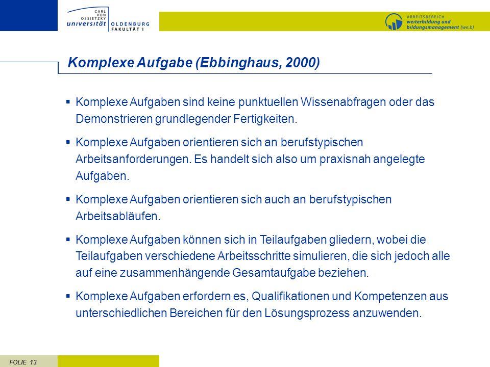 FOLIE 13 Komplexe Aufgabe (Ebbinghaus, 2000) Komplexe Aufgaben sind keine punktuellen Wissenabfragen oder das Demonstrieren grundlegender Fertigkeiten.