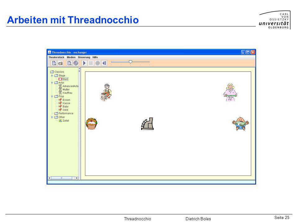 Java-Praktikum SonstigesDietrich BolesSeite 25 Threadnocchio Dietrich Boles Arbeiten mit Threadnocchio