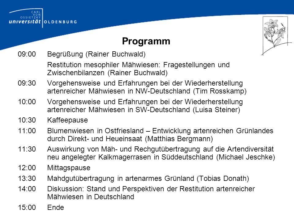 Restitution mesophiler Mähwiesen: Fragestellungen und Zwischenbilanzen Rainer Buchwald Carl von Ossietzky Universität, Oldenburg
