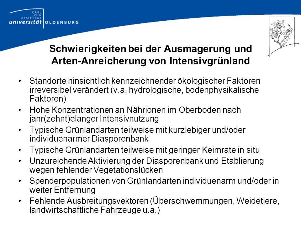 Vielfalt der Mähgut-Übertragungen I.Spenderflächen (n = 19) Extensiv genutzte mesophile Wiese (Arrhenatheretalia – Basal- gesellschaft) Salbei-Glatthaferwiese (Arrhenatheretum salvietosum) Typische Glatthaferwiese (Arrhenatheretum typicum) Mädesüß-Glatthaferwiese (Arrhenatheretum filipenduletosum) Goldhaferwiese (Polygono – Trisetetum) Goldhaferwiese (Polygono – Nardetum) / Borstgrasrasen (Nardetum) Wassergreiskraut-Wiese (Senecioni – Brometum) Extensiv genutztes Hochmoor-Grünland (Molinietalia – Agrostietalia - Basalgesellschaft) Extensiv genutztes Niedermoor-Grünland (Molinietalia – Basalgesellschaft) Sandtrockenrasen (Armerion elongatae) Halbtrockenrasen (Onobrychido – Brometum)