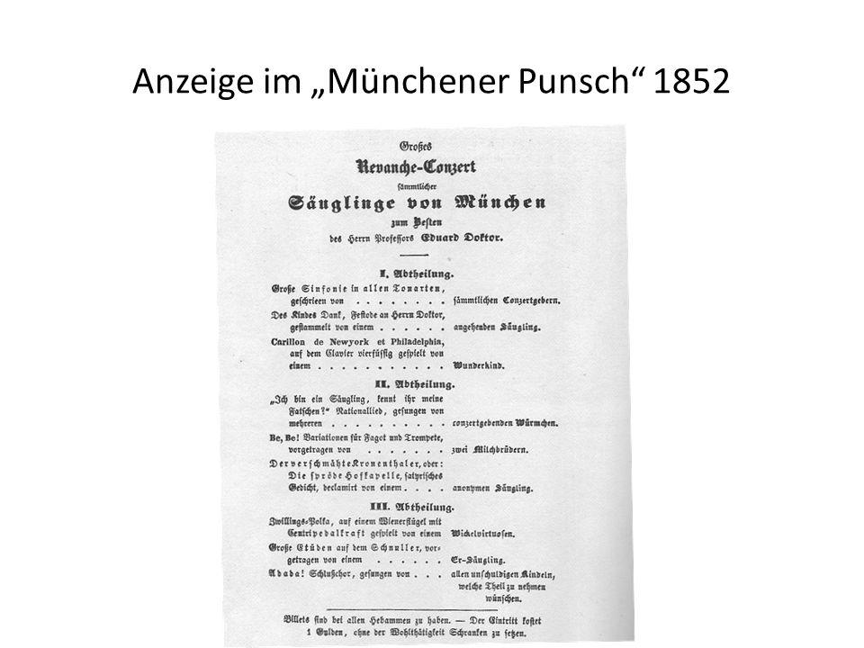 Anzeige im Münchener Punsch 1852