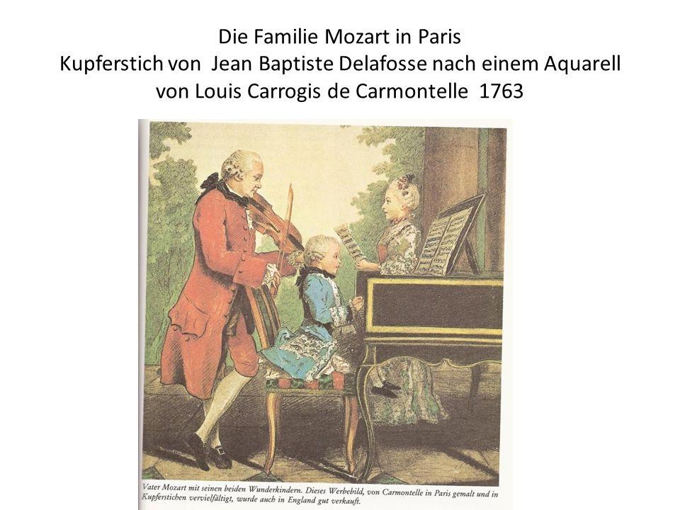 Die Familie Mozart in Paris Kupferstich von Jean Baptiste Delafosse nach einem Aquarell von Louis Carrogis de Carmontelle 1763