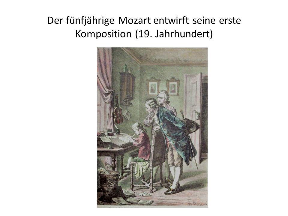 Der fünfjährige Mozart entwirft seine erste Komposition (19. Jahrhundert)