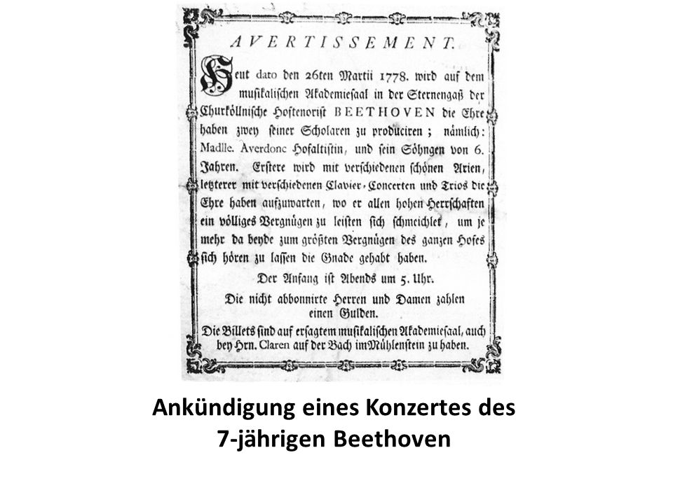 Ankündigung eines Konzertes des 7-jährigen Beethoven