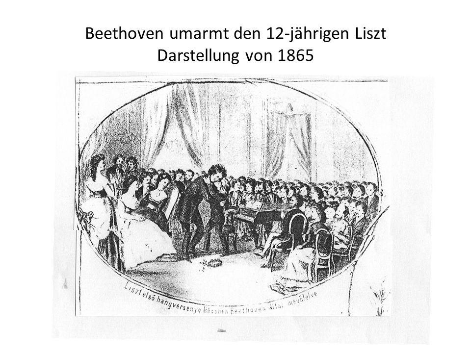 Beethoven umarmt den 12-jährigen Liszt Darstellung von 1865