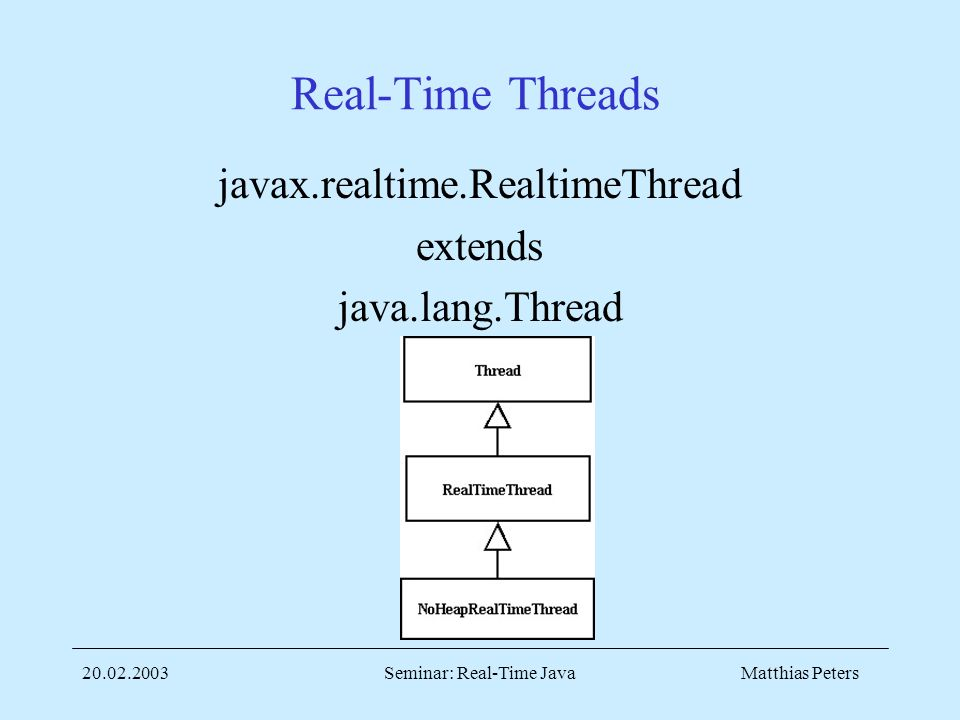 Matthias Peters20.02.2003Seminar: Real-Time Java Real-Time Threads javax.realtime.RealtimeThread extends java.lang.Thread