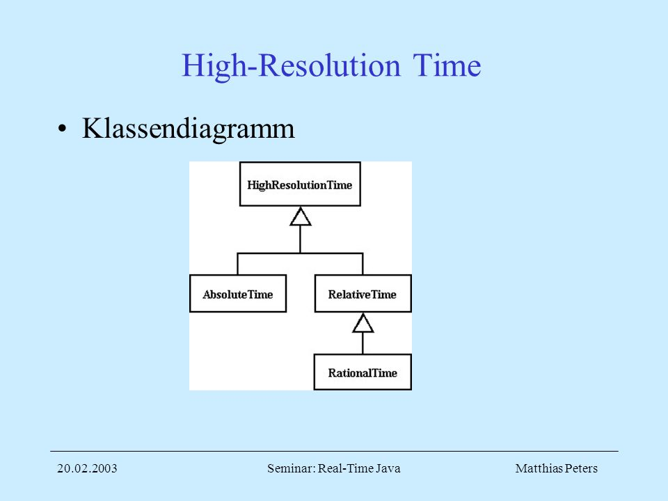Matthias Peters20.02.2003Seminar: Real-Time Java High-Resolution Time Klassendiagramm
