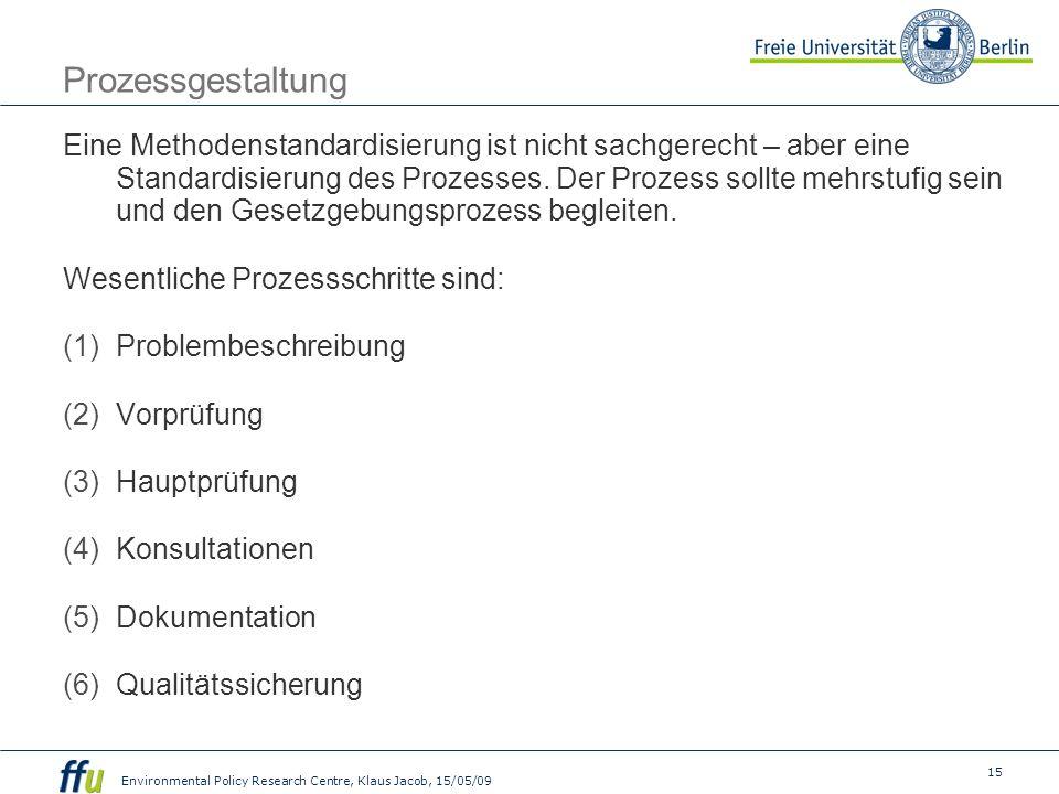 15 Environmental Policy Research Centre, Klaus Jacob, 15/05/09 Prozessgestaltung Eine Methodenstandardisierung ist nicht sachgerecht – aber eine Standardisierung des Prozesses.