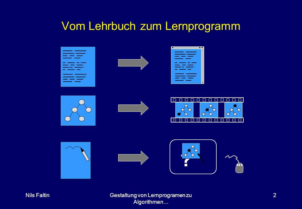 Nils FaltinGestaltung von Lernprogramen zu Algorithmen... 2 Vom Lehrbuch zum Lernprogramm ?