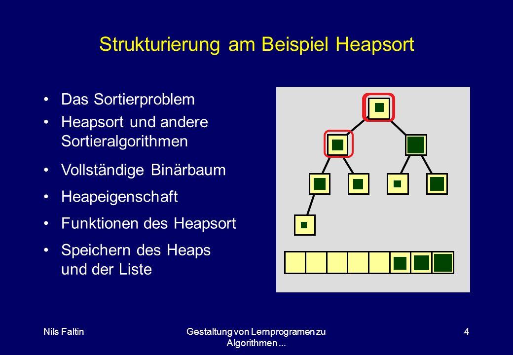 Nils FaltinGestaltung von Lernprogramen zu Algorithmen... 3 Strukturierung des Lernprogramms in Sektionen Warum in Sektionen aufteilen? Typische Sekti