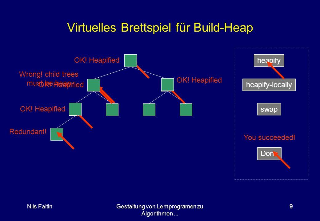 Nils FaltinGestaltung von Lernprogramen zu Algorithmen... 8 Verwendung der Heapify-Funktion Vorbedingung: Kindbäume sind heapgeordnet Nachbedingung he
