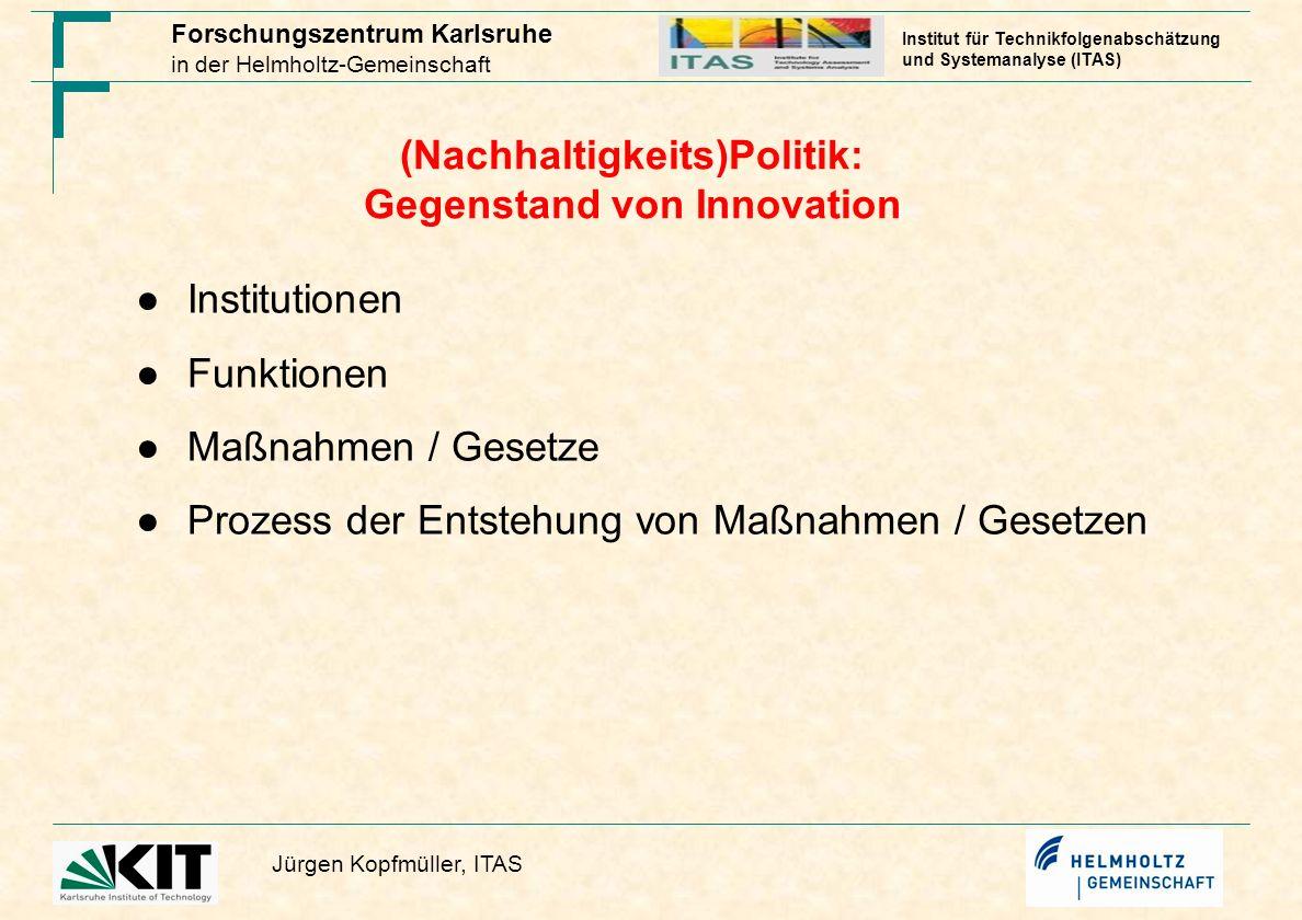 Forschungszentrum Karlsruhe in der Helmholtz-Gemeinschaft Jürgen Kopfmüller, ITAS Institut für Technikfolgenabschätzung und Systemanalyse (ITAS) (Nach