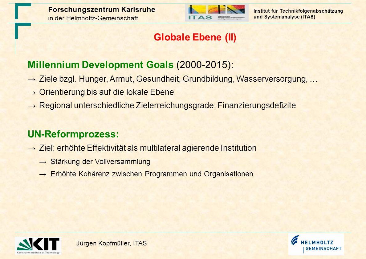 Forschungszentrum Karlsruhe in der Helmholtz-Gemeinschaft Jürgen Kopfmüller, ITAS Institut für Technikfolgenabschätzung und Systemanalyse (ITAS) Globa