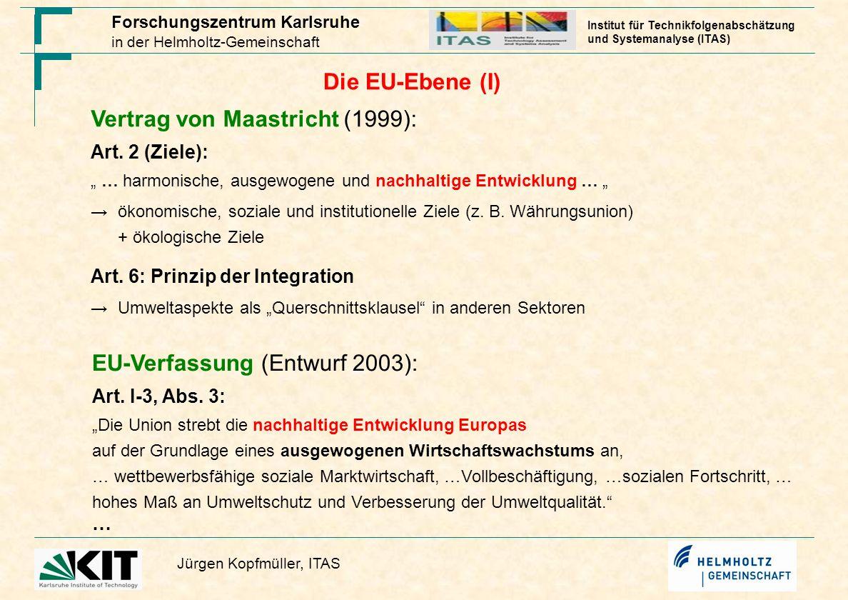 Forschungszentrum Karlsruhe in der Helmholtz-Gemeinschaft Jürgen Kopfmüller, ITAS Institut für Technikfolgenabschätzung und Systemanalyse (ITAS) Die EU-Ebene (II) Nachhaltigkeitsstrategie (2006; Fortschrittsberichte ab 2007 zweijährlich): 7 Schwerpunktthemen: Klima / Energie; Verkehr; Produktion / Konsum; Gesundheit; Umweltressourcen; soziale Inklusion / Demographie / Migration; globale Armut 4 Querschnittsthemen: Bildung; FuE; Finanzierung; Kommunikation Zielwerte vorwiegend qualitativ, wenig anspruchsvoll bei Maßnahmen nur Status-quo (z.