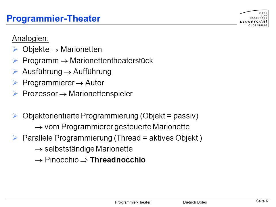 Java-Praktikum SonstigesDietrich BolesSeite 7 Programmier-Theater Dietrich Boles Theater-API interface PixelArea Stage Thread Component ActorProp TheaterImage Rectangle Point Cell platziert Hintergrund Icon TheaterIcon