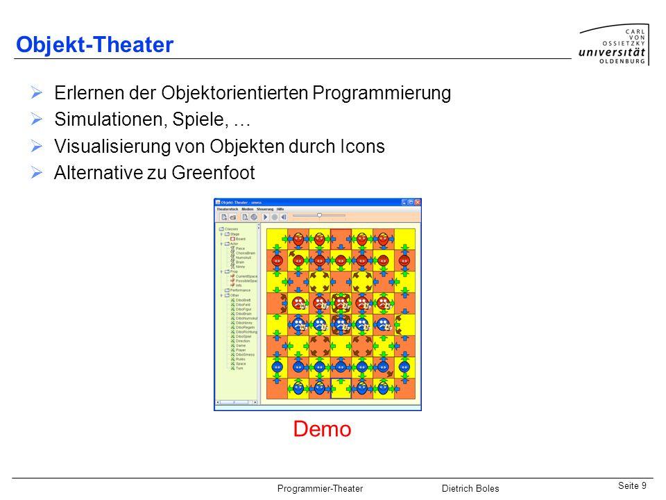 Java-Praktikum SonstigesDietrich BolesSeite 10 Programmier-Theater Dietrich Boles Erlernen der Parallelen Programmierung mit Java-Threads Visualisierung von Threads durch Icons Threadnocchio Demo