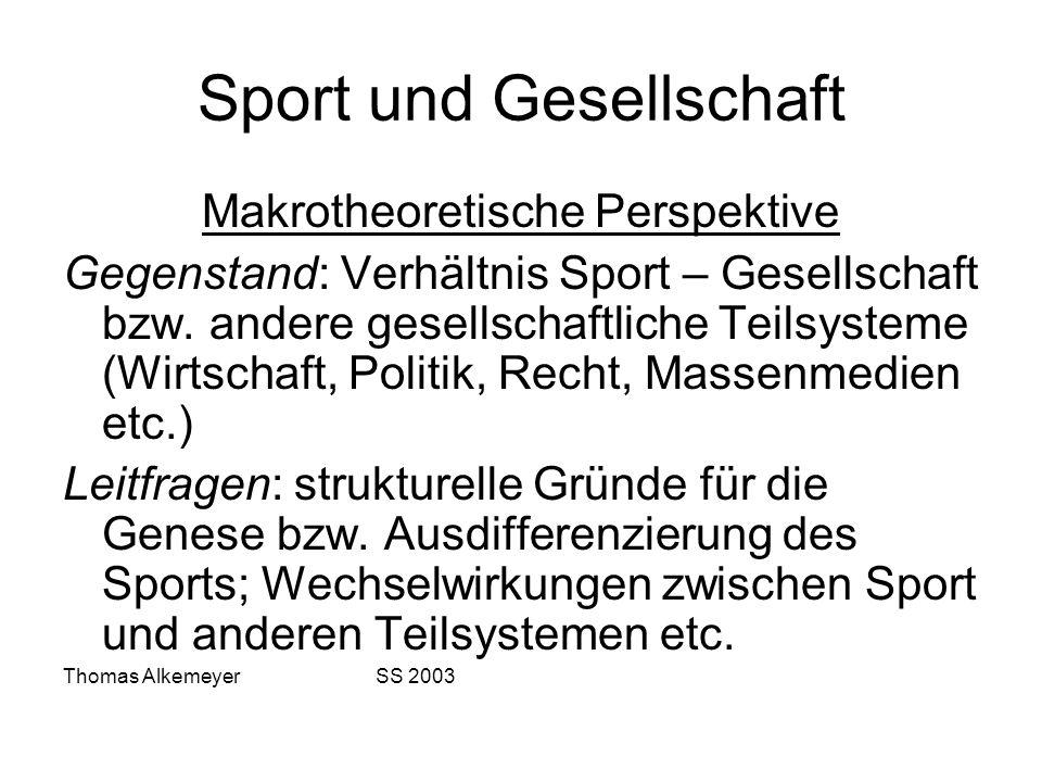 Sport und Gesellschaft Makrotheoretische Perspektive Gegenstand: Verhältnis Sport – Gesellschaft bzw. andere gesellschaftliche Teilsysteme (Wirtschaft