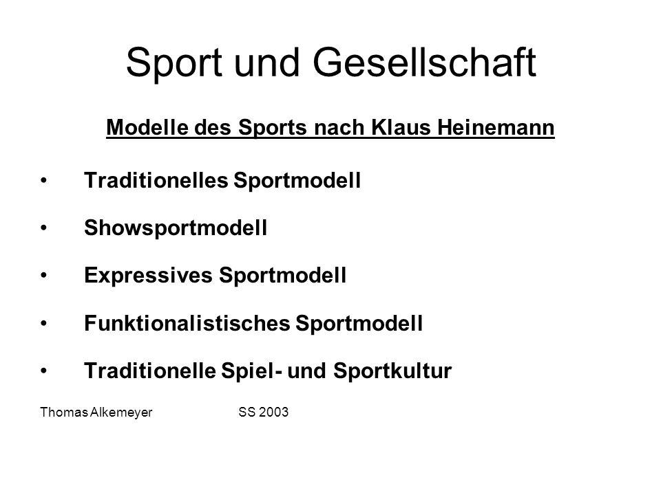 Sport und Gesellschaft Modelle des Sports nach Klaus Heinemann Traditionelles Sportmodell Showsportmodell Expressives Sportmodell Funktionalistisches