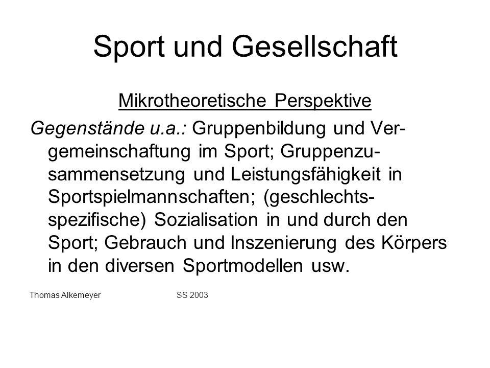 Sport und Gesellschaft Mikrotheoretische Perspektive Gegenstände u.a.: Gruppenbildung und Ver- gemeinschaftung im Sport; Gruppenzu- sammensetzung und