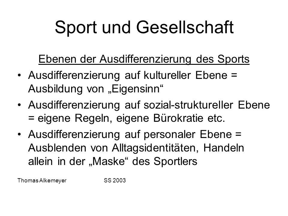 Sport und Gesellschaft Ebenen der Ausdifferenzierung des Sports Ausdifferenzierung auf kultureller Ebene = Ausbildung von Eigensinn Ausdifferenzierung