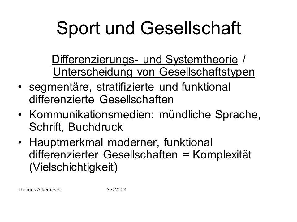Sport und Gesellschaft Differenzierungs- und Systemtheorie / Unterscheidung von Gesellschaftstypen segmentäre, stratifizierte und funktional differenz