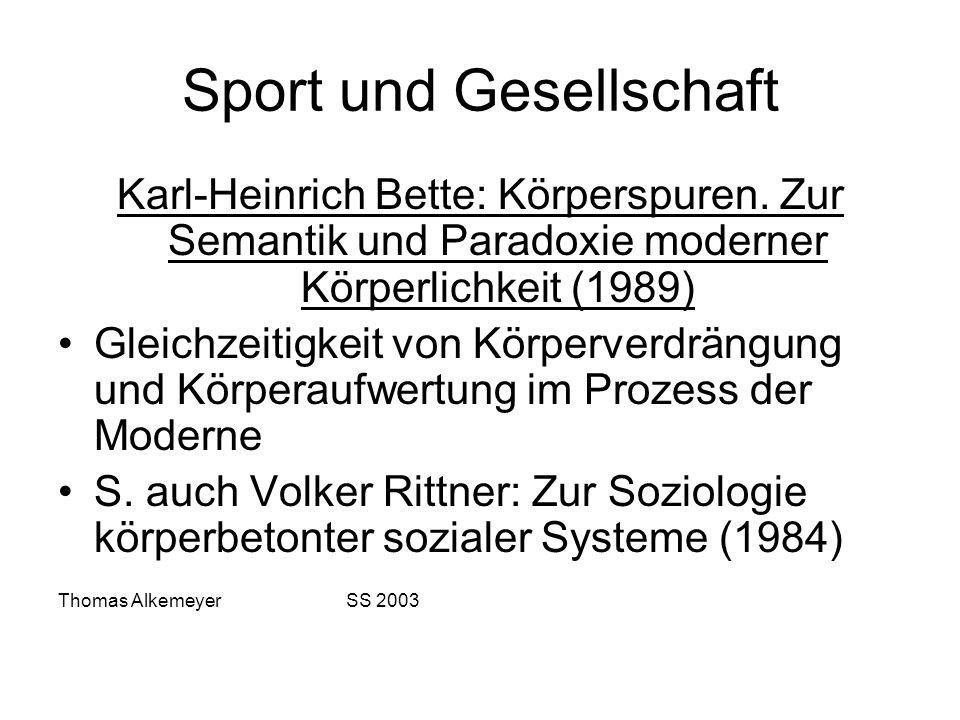 Sport und Gesellschaft Karl-Heinrich Bette: Körperspuren. Zur Semantik und Paradoxie moderner Körperlichkeit (1989) Gleichzeitigkeit von Körperverdrän