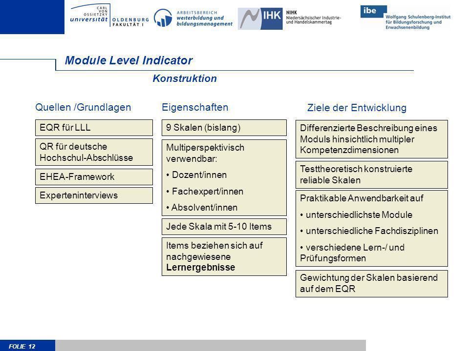 FOLIE 12 Module Level Indicator Konstruktion EQR für LLL QR für deutsche Hochschul-Abschlüsse EHEA-Framework Differenzierte Beschreibung eines Moduls