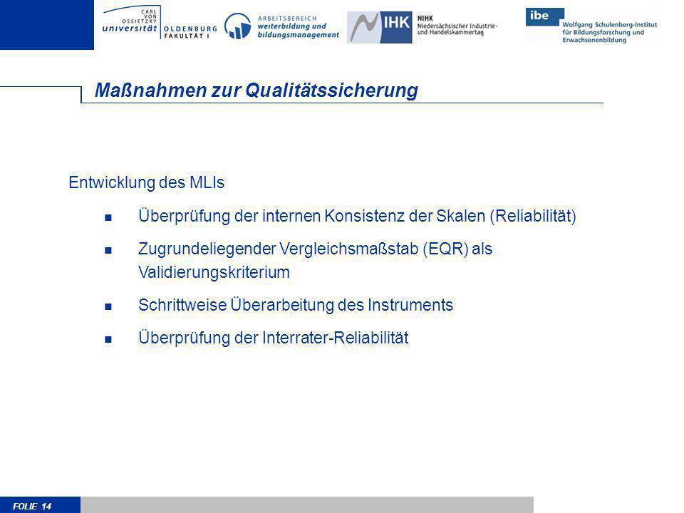 FOLIE 14 Maßnahmen zur Qualitätssicherung Entwicklung des MLIs Überprüfung der internen Konsistenz der Skalen (Reliabilität) Zugrundeliegender Verglei