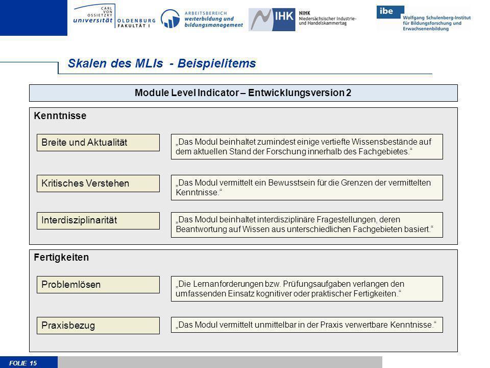 FOLIE 15 Skalen des MLIs - Beispielitems Kenntnisse Module Level Indicator – Entwicklungsversion 2 Breite und Aktualität Kritisches Verstehen Interdis