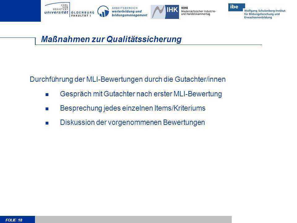 FOLIE 18 Maßnahmen zur Qualitätssicherung Durchführung der MLI-Bewertungen durch die Gutachter/innen Gespräch mit Gutachter nach erster MLI-Bewertung