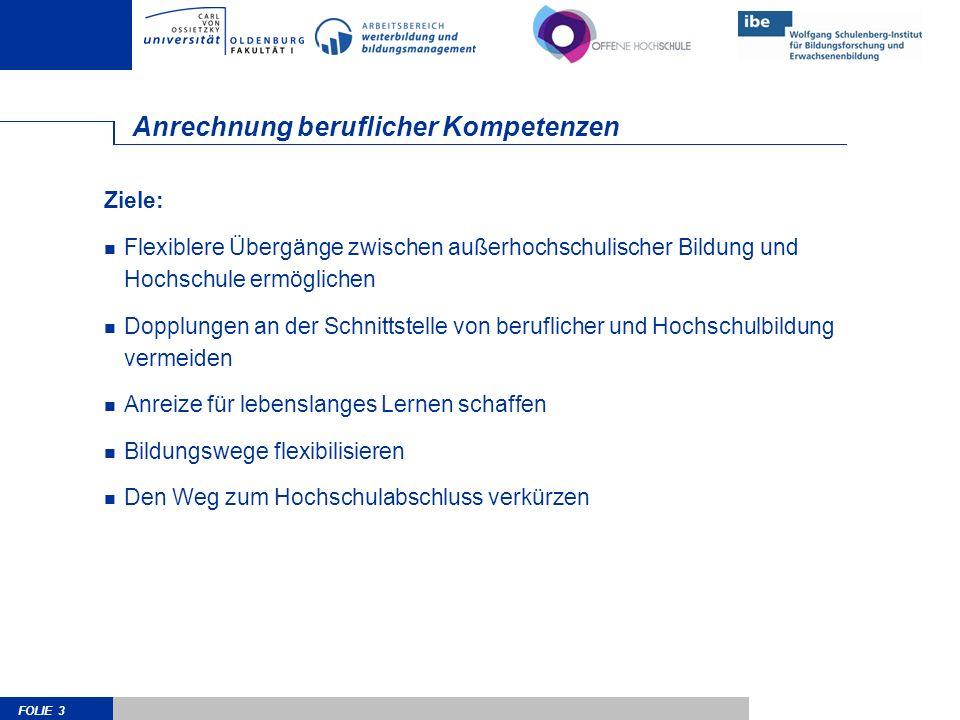 FOLIE 4 Beschluss der KMK vom 28.6.2002 Außerhalb des Hochschulwesens erworbene Kenntnisse und Fähigkeiten können im Rahmen einer –ggf.