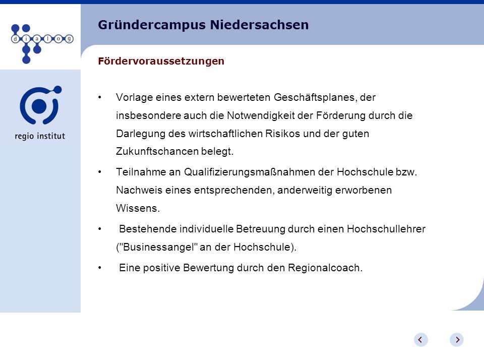Gründercampus Niedersachsen Externe Beratung vor der Gründung (bis zu 750,-- pro Gründer) Mitnutzung von Hochschuleinrichtungen nach erfolgter Gründung (bis zu 2.500,-- pro Gründer) - beides kann direkt vom Regionalcoach bezogen werden Zuschuss zum laufenden Betrieb im Rahmen einer Festbetragsfinanzierung (für max.