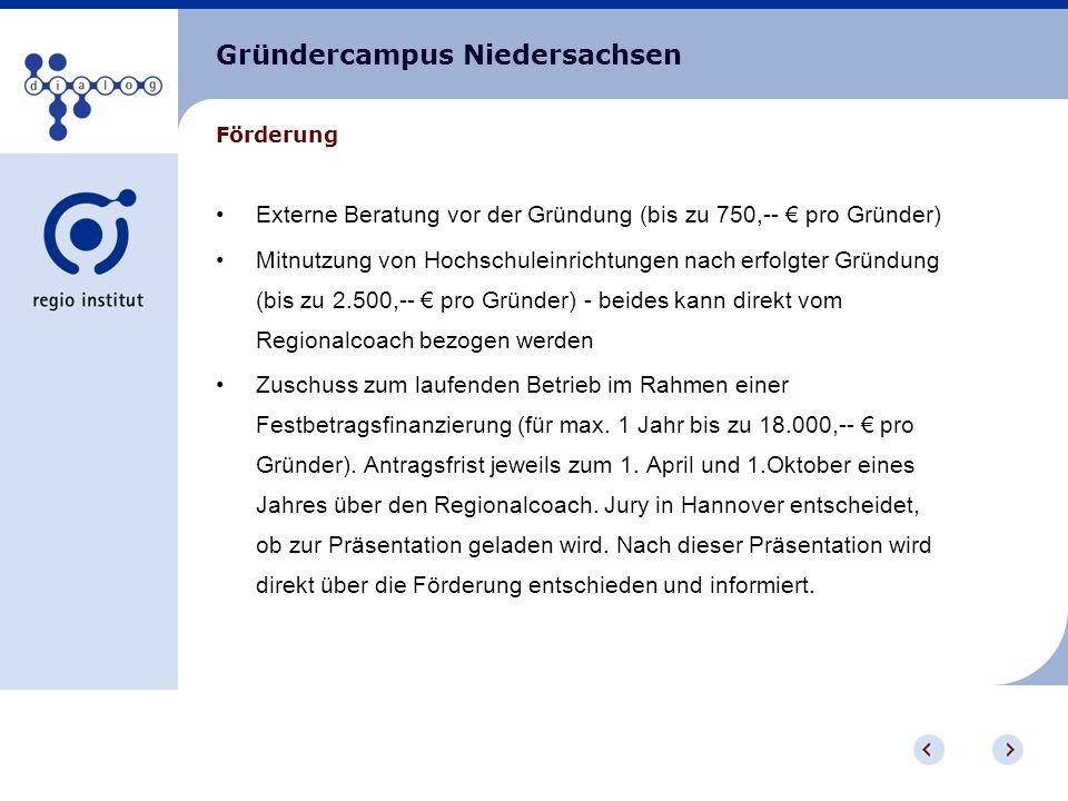 Gründercampus Niedersachsen Realisierungsquote