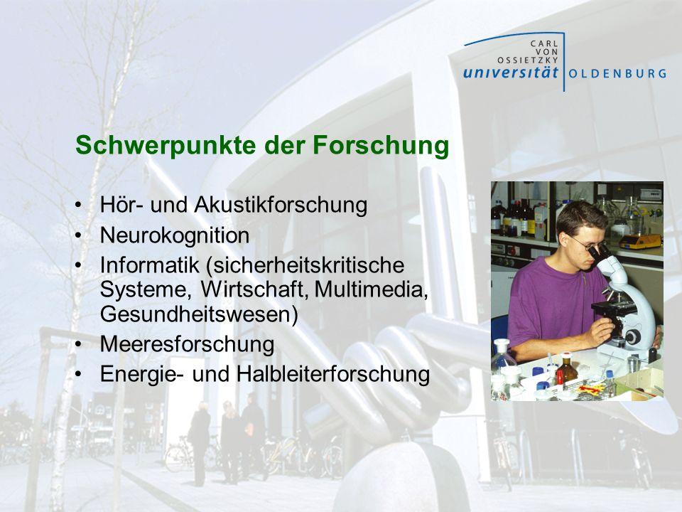 Schwerpunkte der Forschung Hör- und Akustikforschung Neurokognition Informatik (sicherheitskritische Systeme, Wirtschaft, Multimedia, Gesundheitswesen
