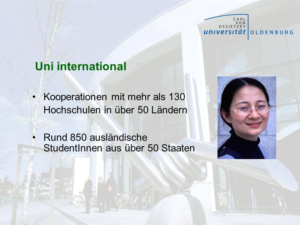 Uni international Kooperationen mit mehr als 130 Hochschulen in über 50 Ländern Rund 850 ausländische StudentInnen aus über 50 Staaten