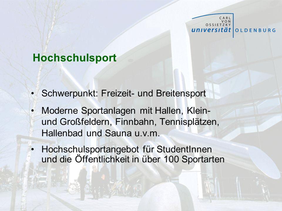 Hochschulsport Schwerpunkt: Freizeit- und Breitensport Moderne Sportanlagen mit Hallen, Klein- und Großfeldern, Finnbahn, Tennisplätzen, Hallenbad und