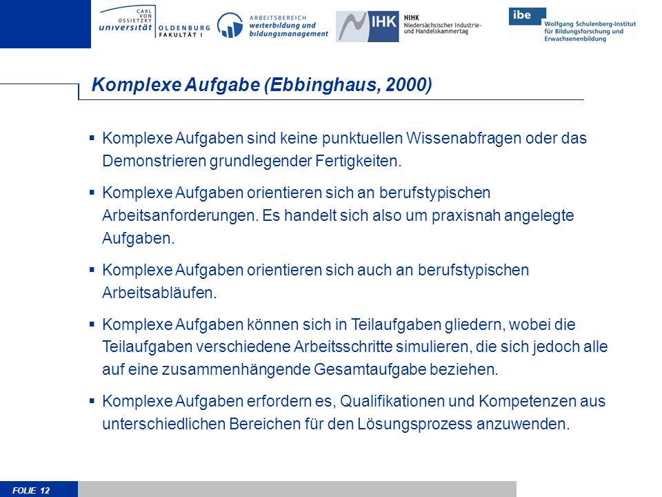 FOLIE 12 Komplexe Aufgabe (Ebbinghaus, 2000) Komplexe Aufgaben sind keine punktuellen Wissenabfragen oder das Demonstrieren grundlegender Fertigkeiten