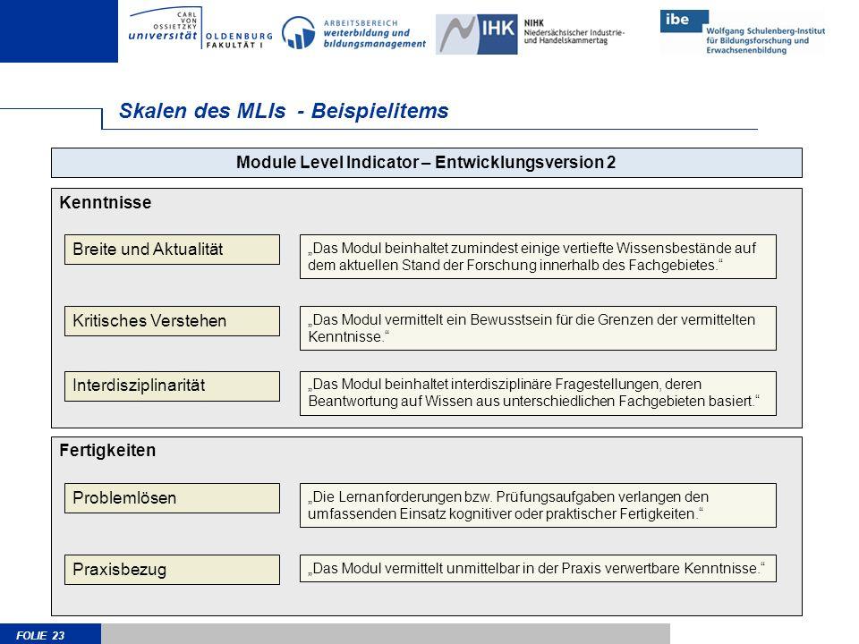FOLIE 23 Skalen des MLIs - Beispielitems Kenntnisse Module Level Indicator – Entwicklungsversion 2 Breite und Aktualität Kritisches Verstehen Interdis