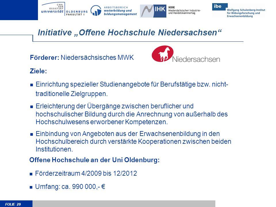 FOLIE 29 Förderer: Niedersächsisches MWK Ziele: Einrichtung spezieller Studienangebote für Berufstätige bzw. nicht- traditionelle Zielgruppen. Erleich