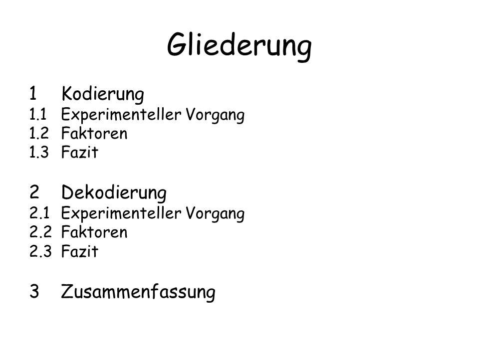 Gliederung 1Kodierung 1.1Experimenteller Vorgang 1.2Faktoren 1.3Fazit 2Dekodierung 2.1Experimenteller Vorgang 2.2Faktoren 2.3Fazit 3Zusammenfassung