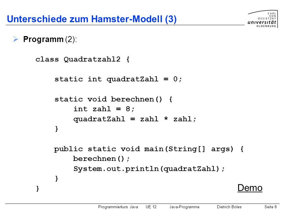 Programmierkurs JavaUE 12Java-ProgrammeDietrich BolesSeite 9 Ein- und Ausgabe Vordefinierte Java-Klasse IO Dateien: IO.java (Java-Quellcode) IO.class (Java-Bytecode) IO.README (Informationen) Die Datei IO.class muss sich in demselben Verzeichnis befinden, wie ein Java-Programm, das compiliert bzw.