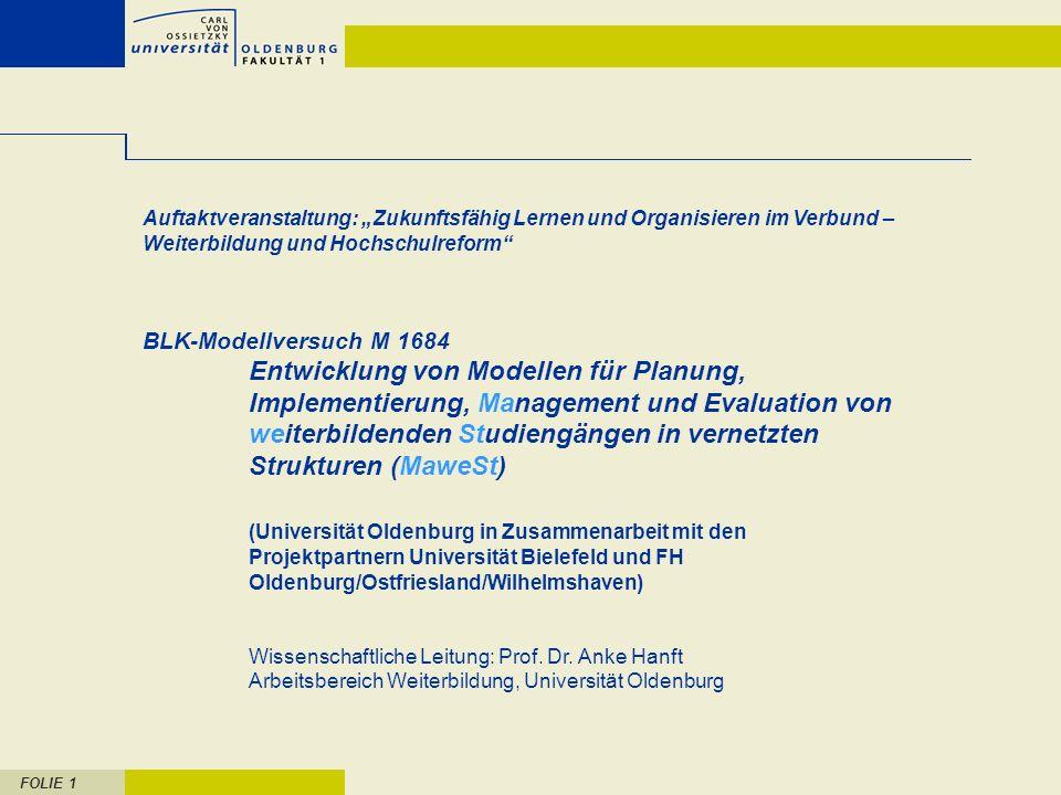 FOLIE 1 Auftaktveranstaltung: Zukunftsfähig Lernen und Organisieren im Verbund – Weiterbildung und Hochschulreform BLK-Modellversuch M 1684 Entwicklun