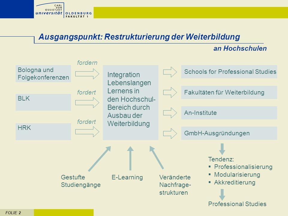 FOLIE 2 an Hochschulen Ausgangspunkt: Restrukturierung der Weiterbildung Gestufte Studiengänge E-LearningVeränderte Nachfrage- strukturen fordern Bolo