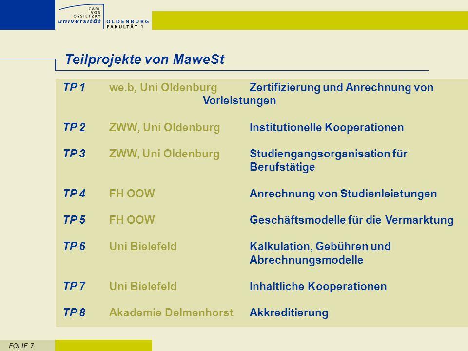 FOLIE 7 Teilprojekte von MaweSt TP 1we.b, Uni OldenburgZertifizierung und Anrechnung von Vorleistungen TP 2ZWW, Uni OldenburgInstitutionelle Kooperati