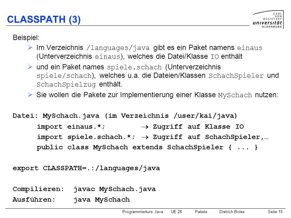 Programmierkurs JavaUE 28 PaketeDietrich BolesSeite 16 CLASSPATH (4) Leicht modifiziertes Beispiel: dieselben Voraussetzungen, nur Sie wollen ein eigenes Paket definieren: Datei: MySchach.java (im Verzeichnis /user/kai/java/kschach) package kschach; import einaus.*; Zugriff auf Klasse Terminal import spiele.schach.*; Zugriff auf SchachSpieler,...