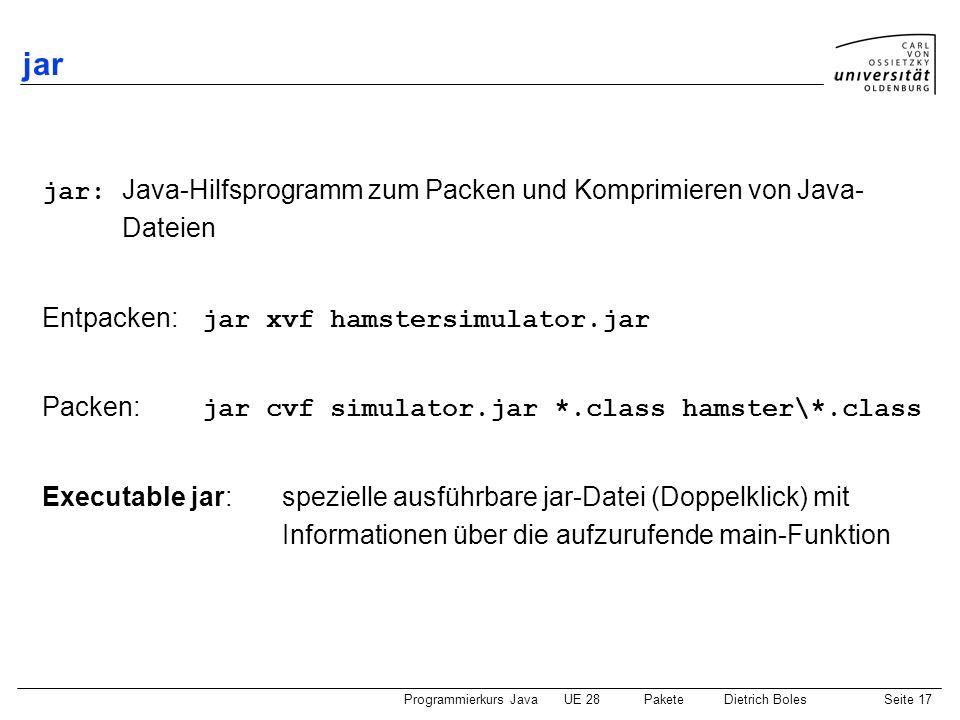 Programmierkurs JavaUE 28 PaketeDietrich BolesSeite 18 Umgang mit Paketen Demo
