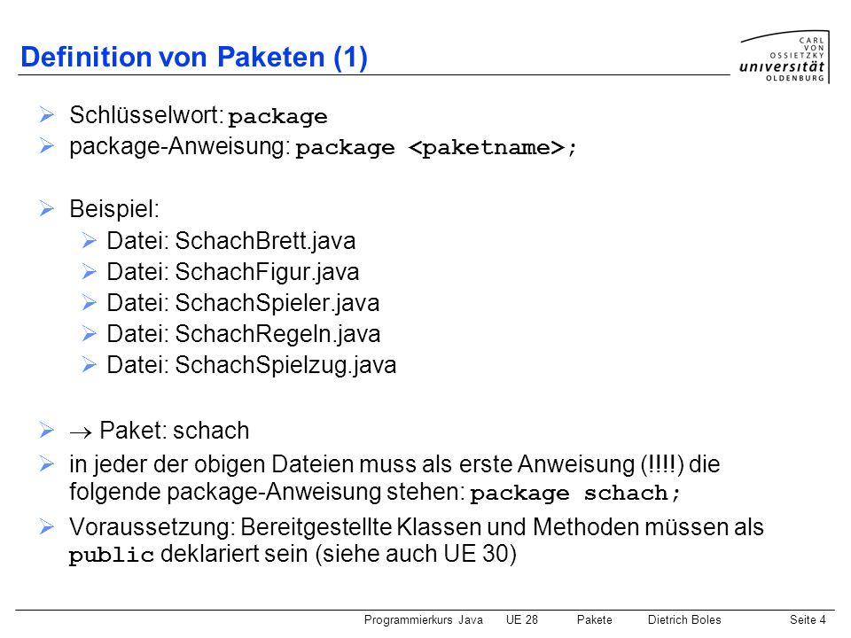 Programmierkurs JavaUE 28 PaketeDietrich BolesSeite 5 Definition von Paketen (2) Datei: SchachBrett.java package schach; public class SchachBrett {...