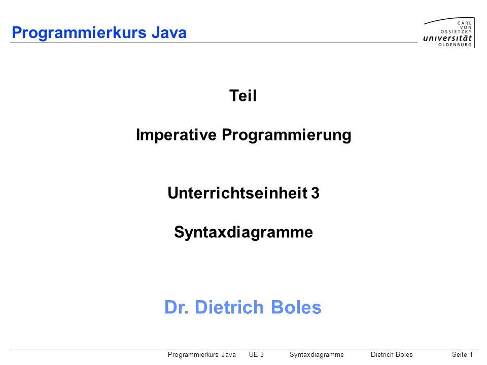 Programmierkurs JavaUE 3 SyntaxdiagrammeDietrich BolesSeite 2 Gliederung Compiler Syntaxdiagramme BNF und EBNF Zusammenfassung